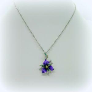 Collana Ciondolo fiore smaltato in argento 925