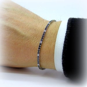 Bracciale tennis pietre nere alternate in argento 925