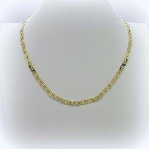 Collana uomo maglia marina piatta in argento 925 placcata oro giallo