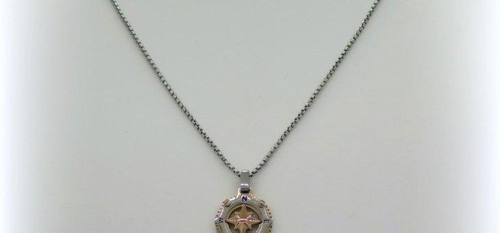 Collana ciondolo rosa dei venti in acciaio Sovrani Bijoux
