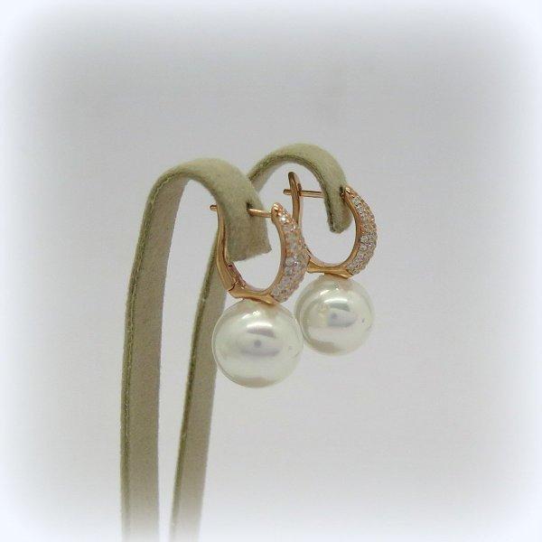 Orecchini pendenti perla in argento placcato oro rosè