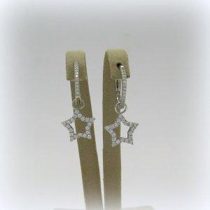 Orecchini pendenti cerchietto stella in argento 925 rodio
