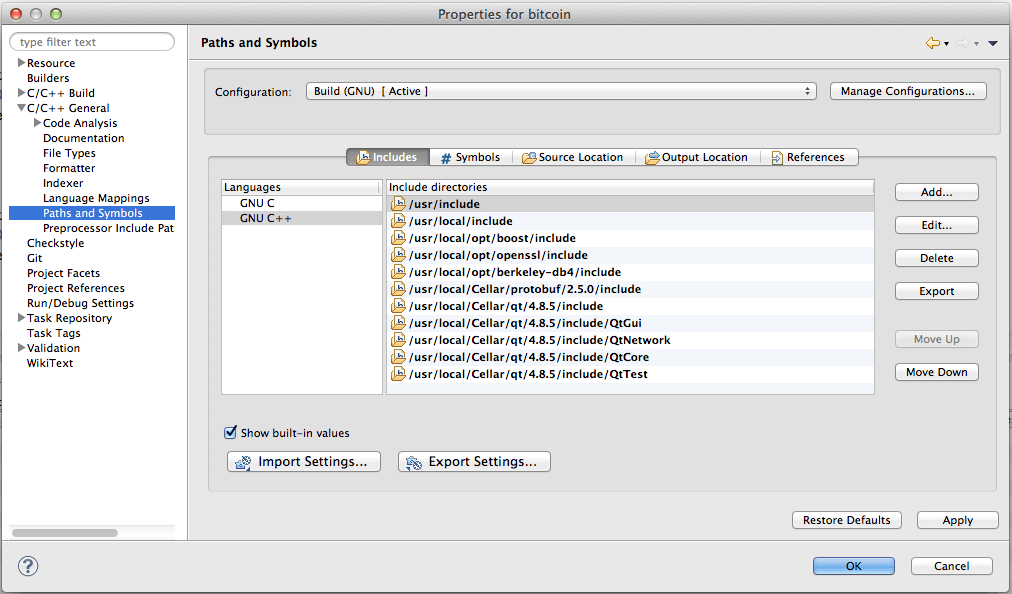Setting up Eclipse as your IDE for Bitcoin C++ development on MacOSX