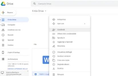 come condividere i file di google drive