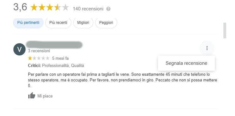 come cancellare recensione negativa google