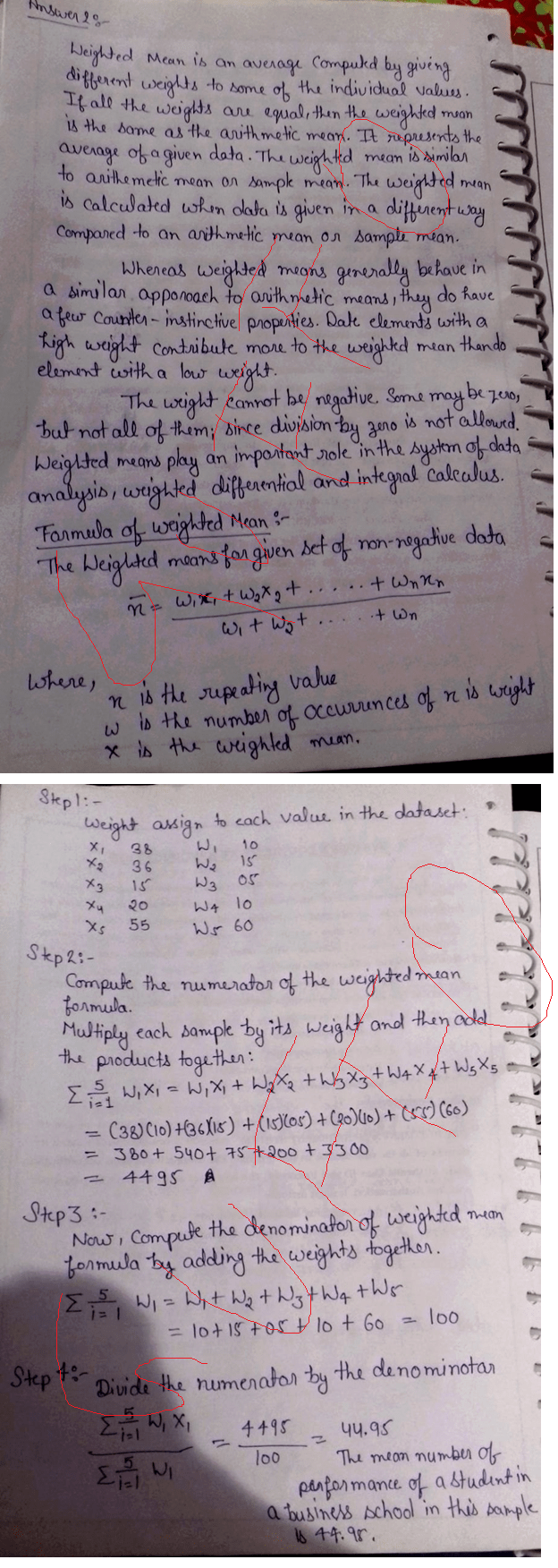 The performance of a student in a business school was evaluated as follows. Calculate weighted mean from the given data and distinguish between weighted arithmetic mean and simple arithmetic mean. Marks Obtained Weights Class test Presentation Attendance Class participation Final examination 38 36 15 20 55 10 15 05 10 60