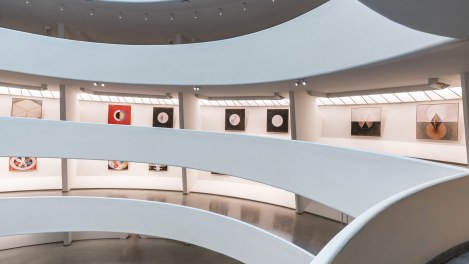 Solomon R. Guggenheim Museum rotunda with paintings by Hilma af Klint on display