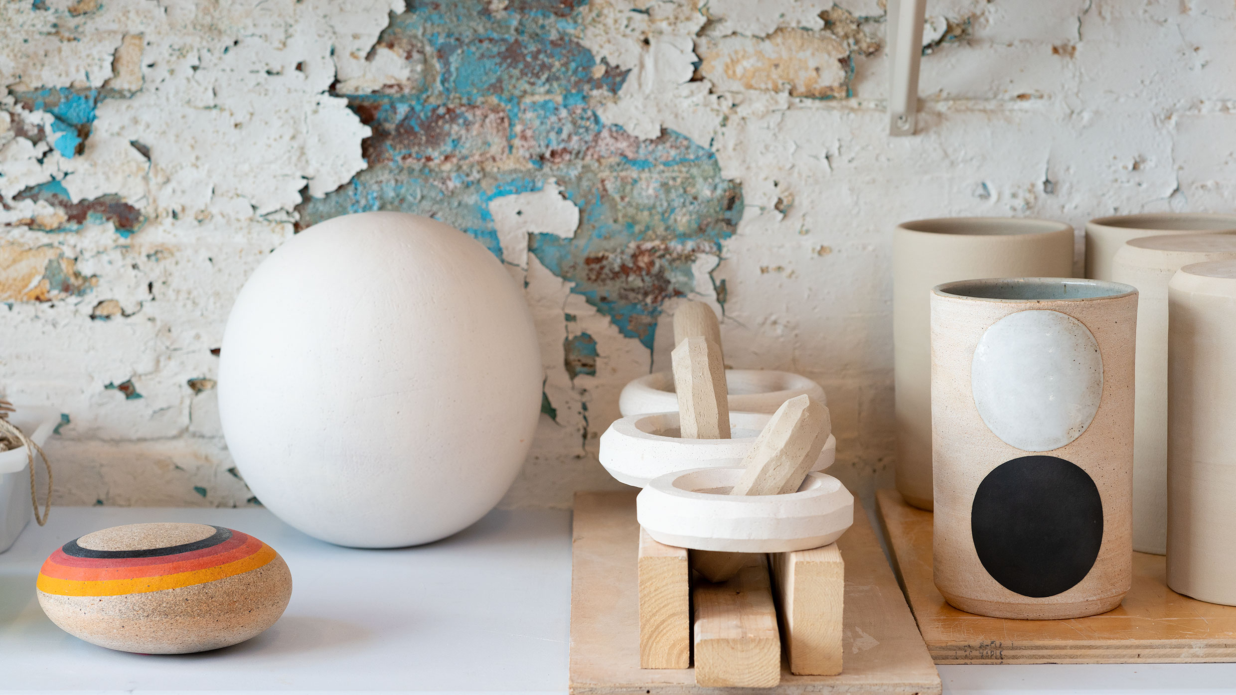 Finished and unfinished ceramic objects in Michele Quan's studio. Photo: Allison Chipak