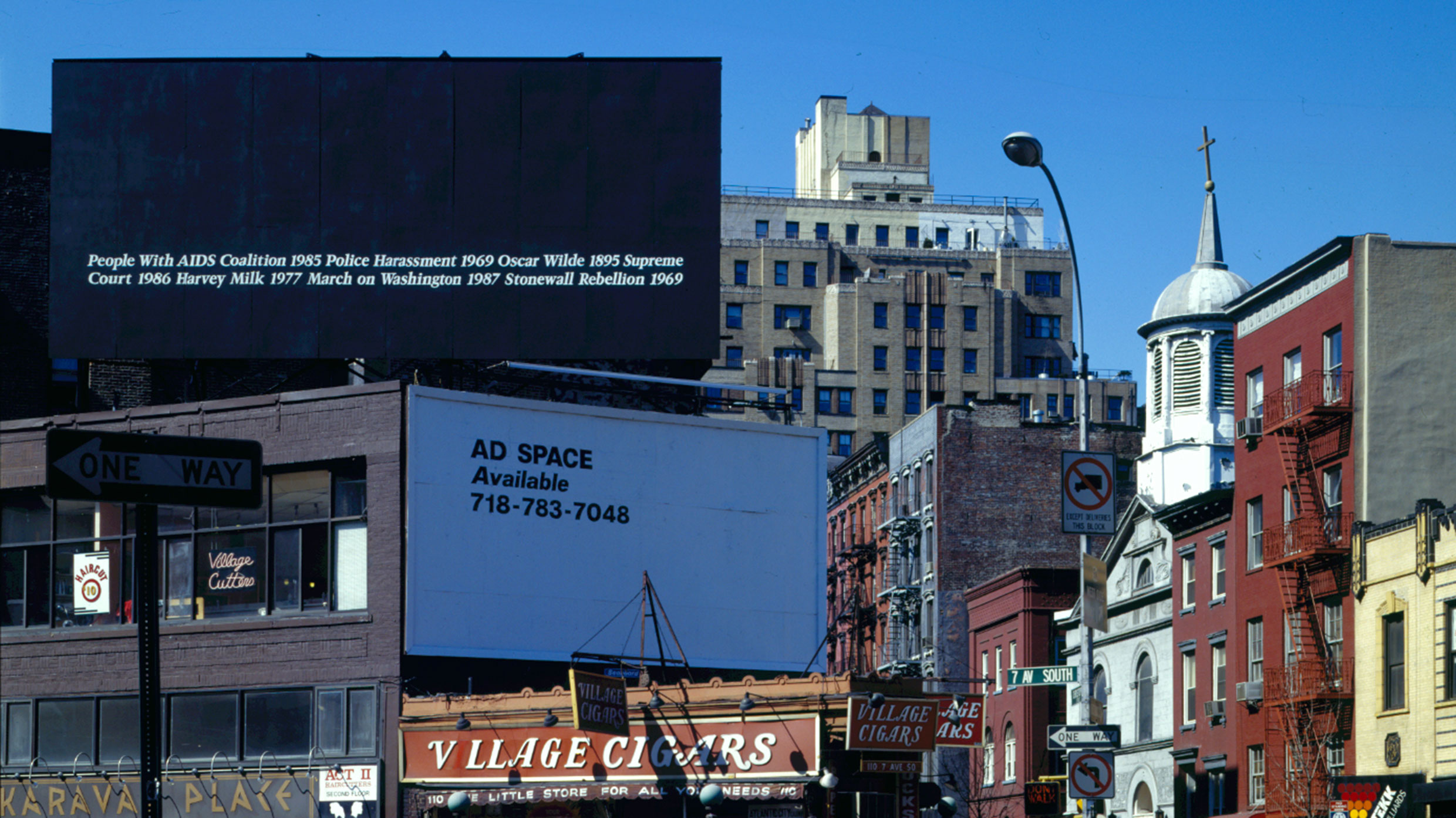 Billboard, black with white text, in New York in 1989