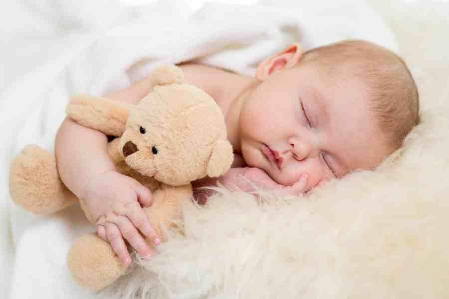 Bebê dormindo abraçado a urso de pelúcia