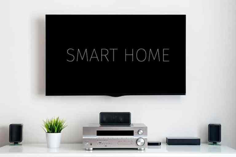 Imagem de tv com aparelhagem de som e planta.