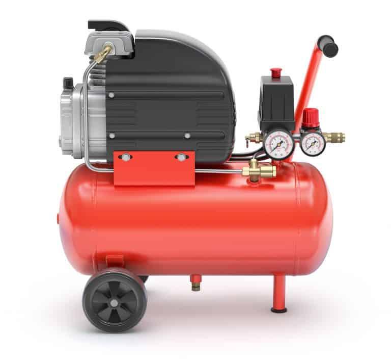 Compressor de ar vermelho.