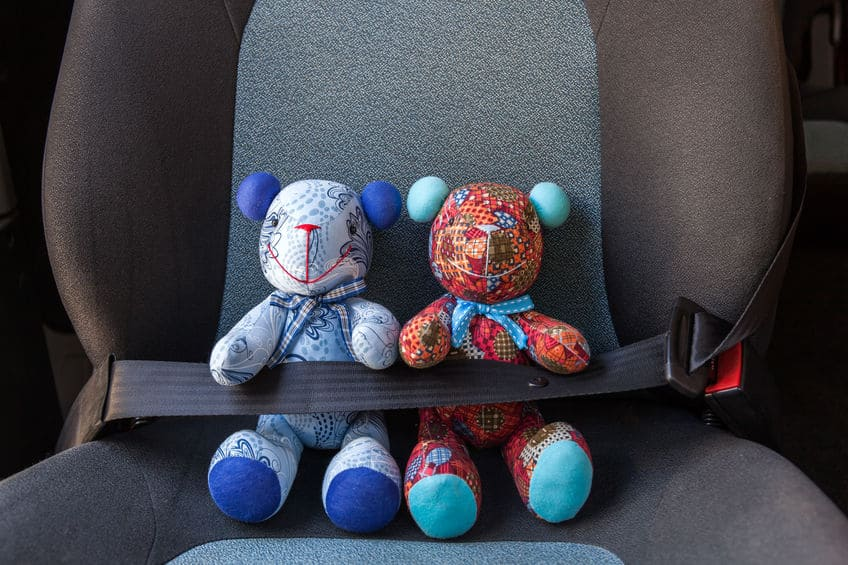 Dois ursinhos de pelúcia sentados em uma cadeirinha de bebê para carro