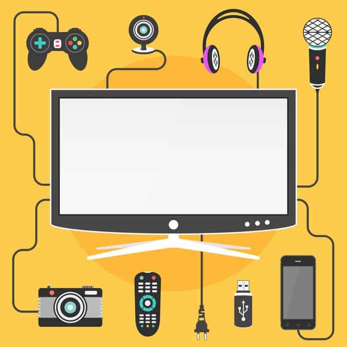 Infográfico mostra uma tela de computador e vários acessórios e dispositivos tecnológicos