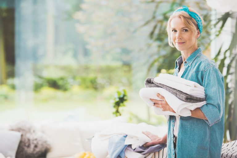 housewife folding clothes