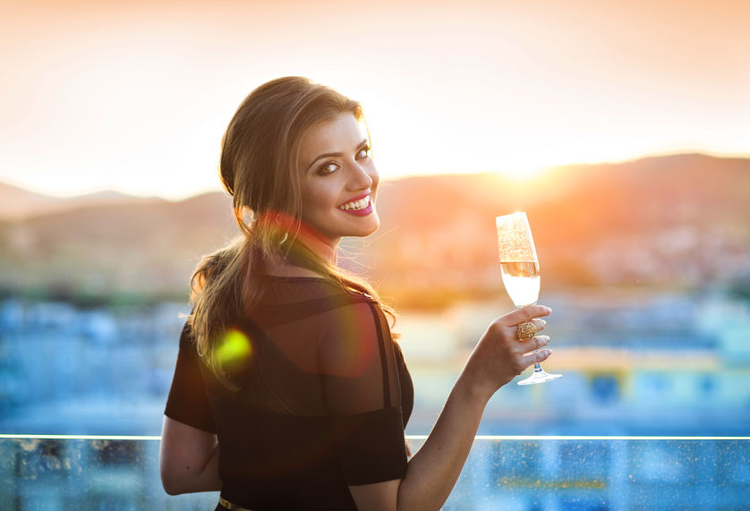 girl drinking some sparkling wine