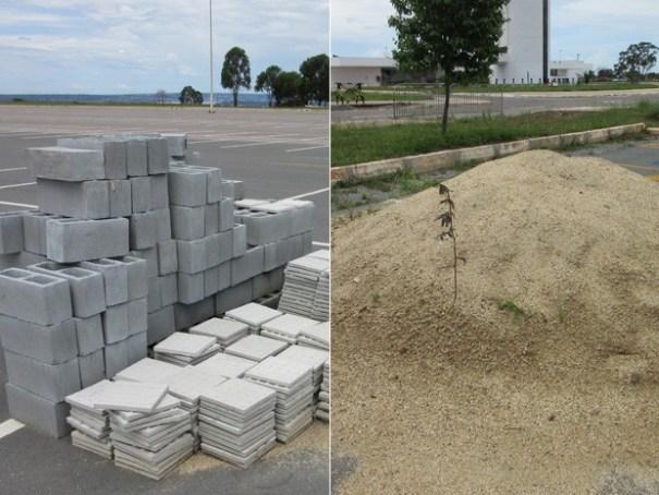 Material que seria usado em obras de acessibilidade estão abandonados na Torre de TV Digital (Foto: Isabella Formiga/G1)
