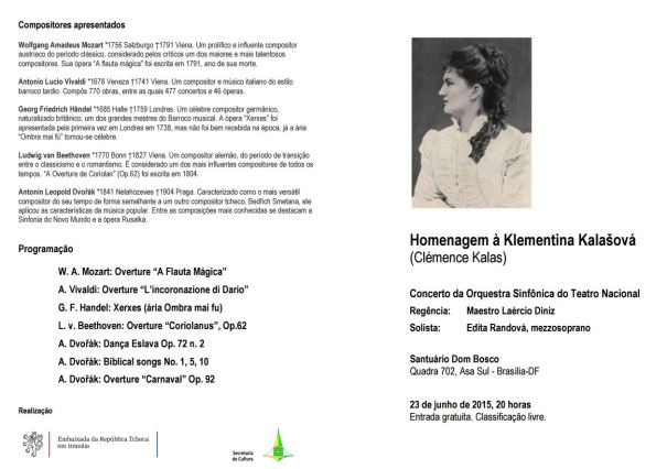 Homenagem à Klementina Kalašová - Programação