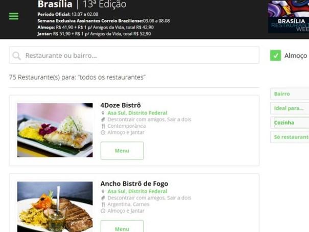 Lista no site do Restaurant Week com endereços dos restaurantes participantes (Foto: Restaurant Week/Reprodução)