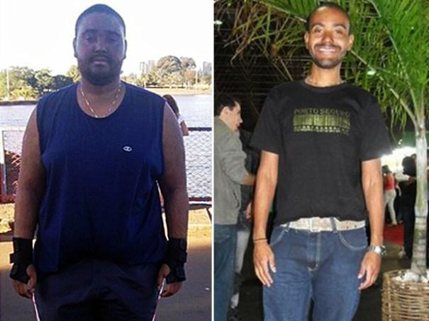Reeducação alimentar. Bibliotecário posa para foto com 156 kg (esquerda) e um ano depois, com 80 kg a menos (Foto: Marcelo Rodrigues/Arquivo Pessoal)