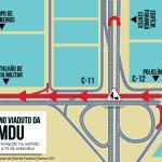 Pista de cima do viaduto da Samdu será interditada na terça-feira (08/09)