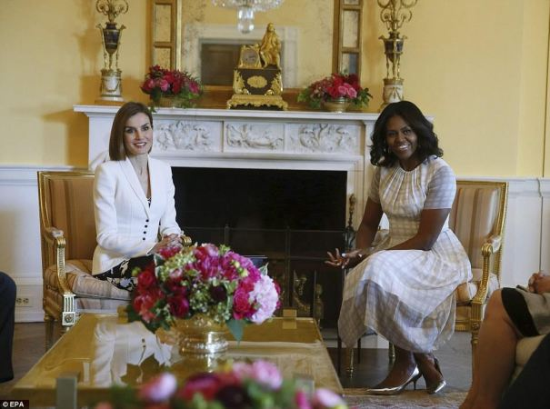 A rainha Letizia com a primeira dama Michelle Obama