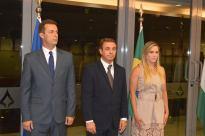 Sr. Márcio Mendes, Presidente do Conselho Curador de Cultura da CLDF, S.E. Sr. Embaixador da Hungria, Norbert Konkoly, a Presidente da CLDF, Deputada Distrital Celina Leão