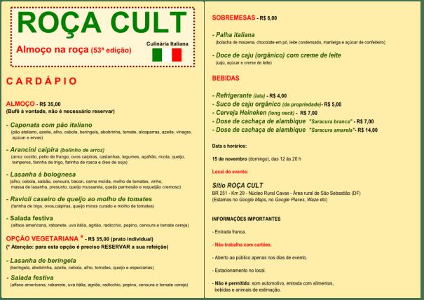 """Cardápio do ROÇA CULT - Almoço na roça (53ª edição) """"Culinária Italiana"""""""