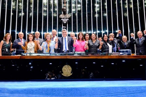 Licença. Senadores e deputados federais comemoraram a aprovação do Estatuto da Primeira Infância - Foto: Ana Volpe/Agência Senado