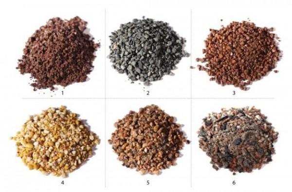 Potete trovare granito schiacciato in diversi colori e dimensioni; a seconda del particolare tipo di granito la grana può avere una dimensione che va da soli 3 mm a 22 mm circa