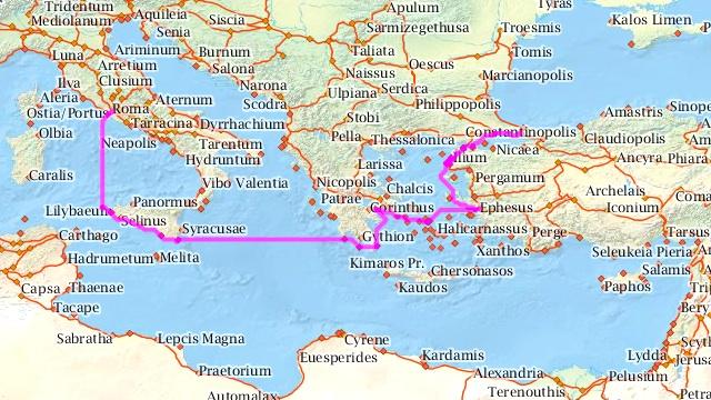 Las rutas del Imperio Romano en un mapa