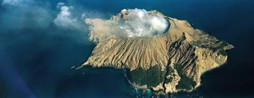 Un volcán dramático