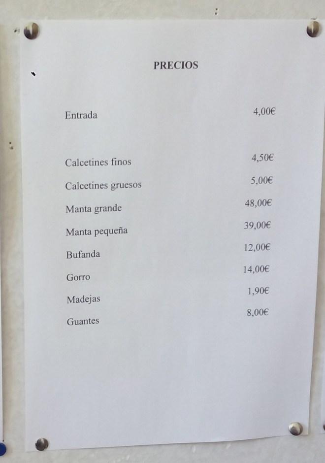 La Fábrica de Lana - Lista de precios de la tienda.
