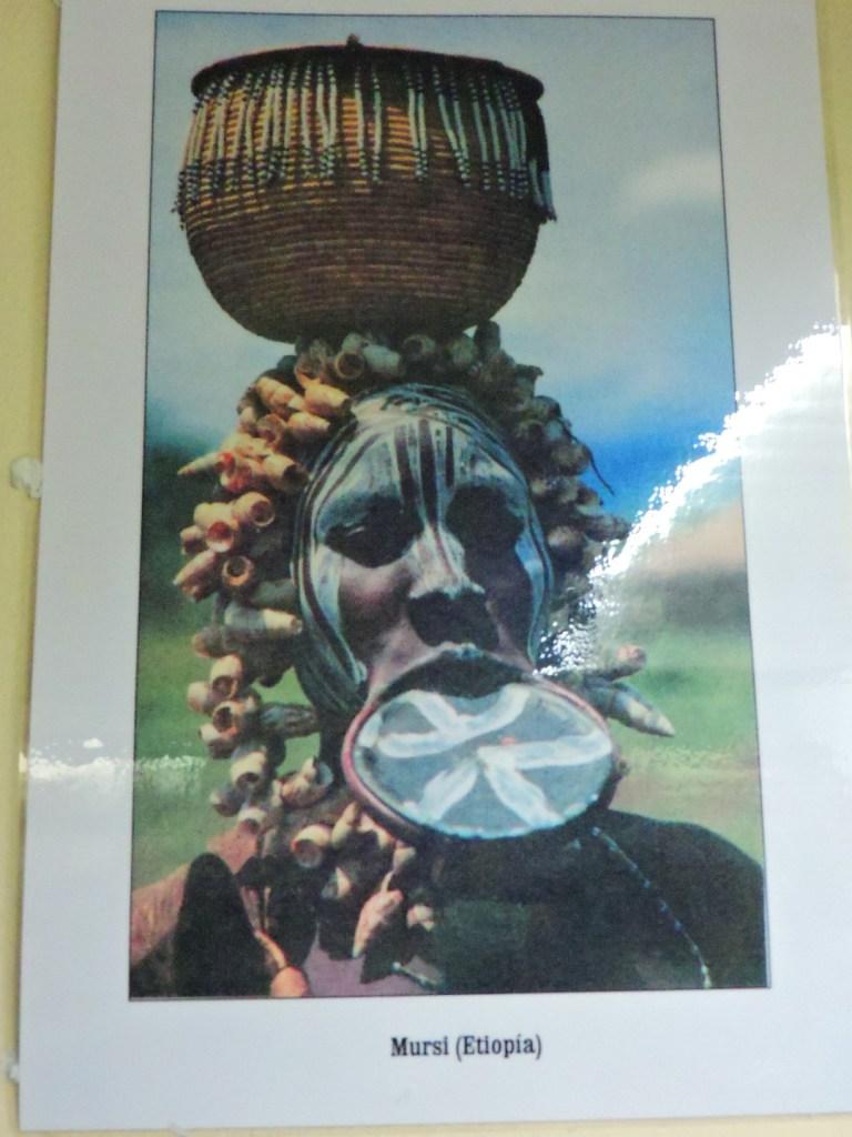 Museo Mundo Negro - Mujer mursi con los característicos discos labiales. Los mursi no son los únicos que practican esta modificación corporal. También lo hacen otras tribus de África y América.