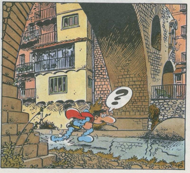 Superlópez en Camprodón - Superlópez pasando por debajo del Puente Nuevo.