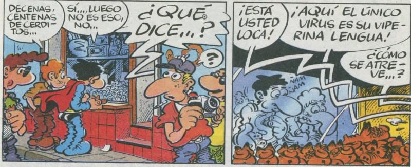 Superlópez en Camprodón - En esta viñeta están Jaime y Superlópez observando la bandeja de cerditos.