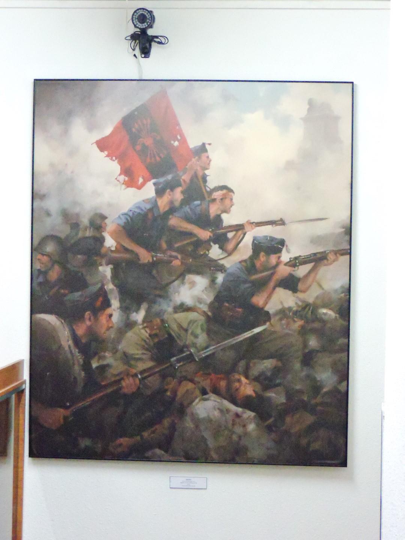 """Museo División Azul - """"Asalto"""", de Ferrer Dalmau. La División Azul se nutrió fundamentalmente de falangistas que quisieron luchar contra el comunismo en su lugar de origen."""