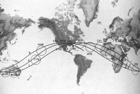 Deep Space Network - Red del Espacio Profundo - Madrid - Red de estaciones para vuelos tripulados MSFN a baja altitud. En la imagen, la estación de Canarias aparece como CYI (15).
