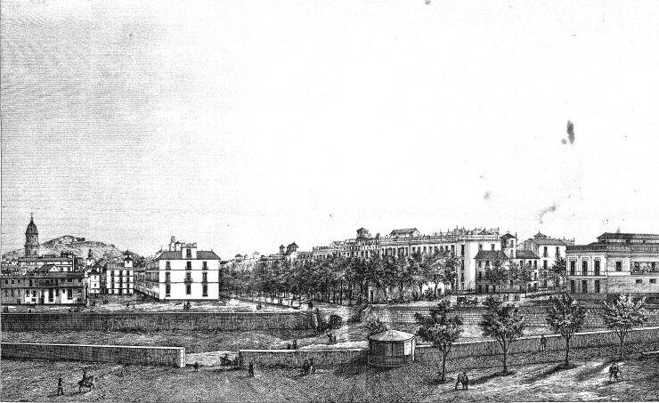 Colegio del Mapa - Río Guadalmedina, que atraviesa Málaga y está pegado al Colegio del Mapa, a finales del S. XIX (2).