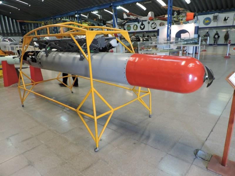 """Museo del Aire - Torpedo Bliss-Leavitt """"Mark XIII"""", fabricado en los años 30, se utilizó ampliamente en la II Guerra Mundial."""