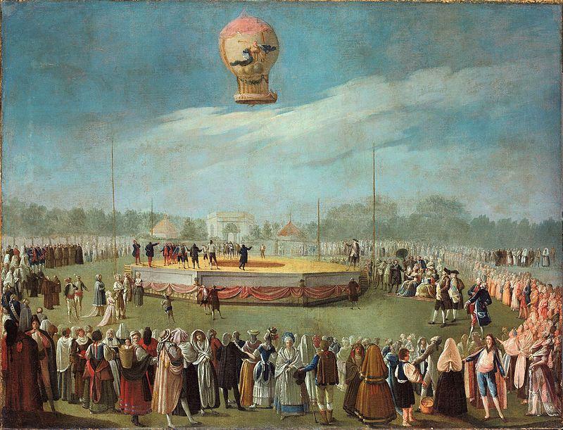 """Museo del Aire - """"Elevación de un globo ante la Corte de Carlos IV"""", de Antonio Carnicero (4)."""