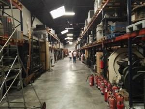 Almacén del MUNCYT - El interior del antiguo Muelle nº 3 de la estación de mercancías es hoy el Almacén paletizado.