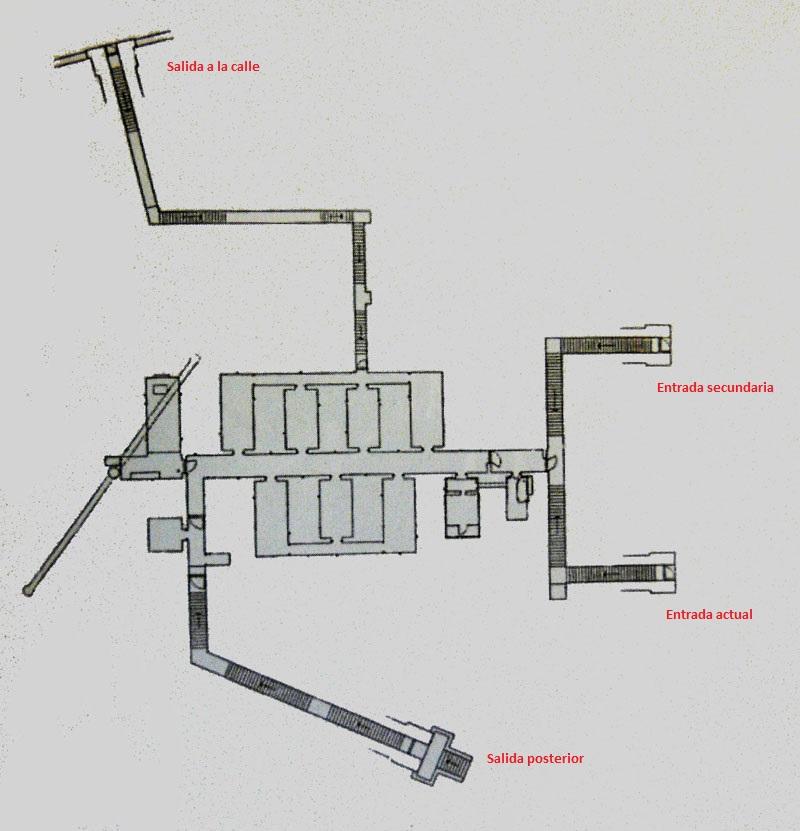 Búnker de El Capricho - Plano del búnker, con las distintas estancias y vías de evacuación (7).