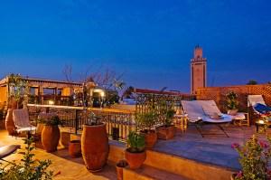 Terraço de um riad em Marrakech