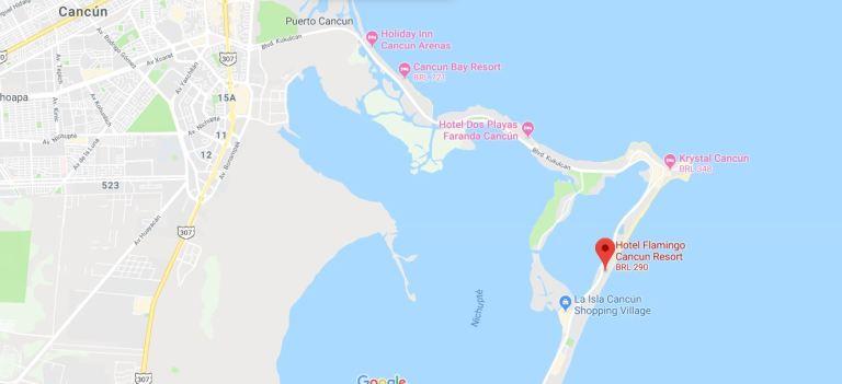Localização Hotel Flamingo Cancun
