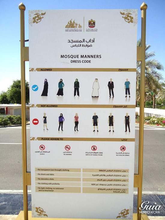 O que usar na Mesquita de Abu Dhabi