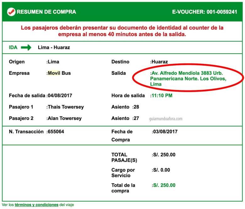 ticket para chegar em Huaraz