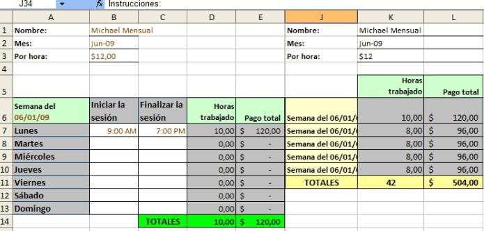 Plantillas Excel mensuales