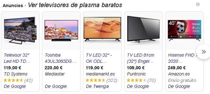 Google Shopping televisiones plasma