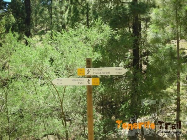 Señalización en El Contador inicio sendero al Parque Nacional